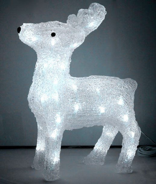 38CM 3D Acrylic Baby Reindeer with 40 White LED Christmas Lights