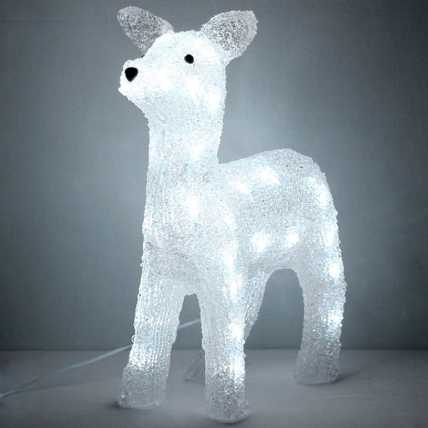 38CM 3D Acrylic Baby Deer Doe with 40 White LED Christmas Lights