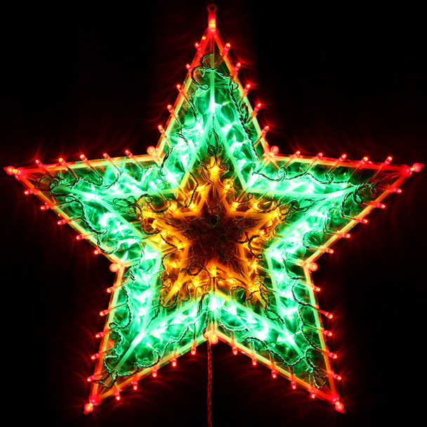 Animated 50CM 120 LED Christmas Flashing Red Green Yellow Star Lights