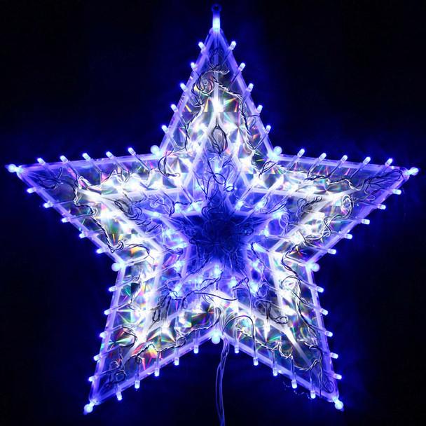 Animated 50CM 120 LED Christmas Flashing White Blue Star Lights