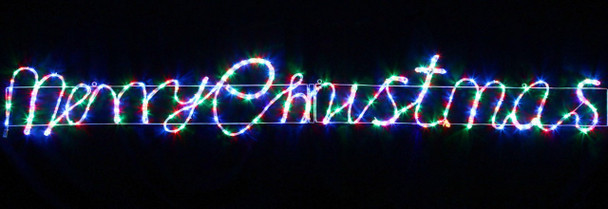 Animated 290CM Wide LED Multi Colours 'Merry Christmas' Motif Rope Lights