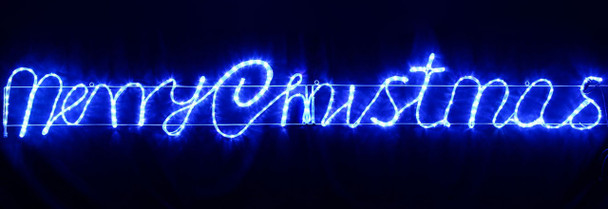 Animated 290CM Wide LED Blue 'Merry Christmas' Motif Rope Lights