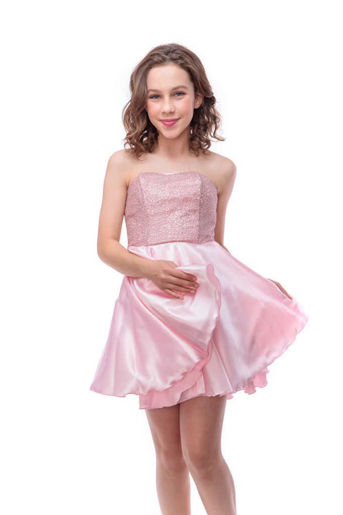 Sequin and Satin Party Dress in Light Pink