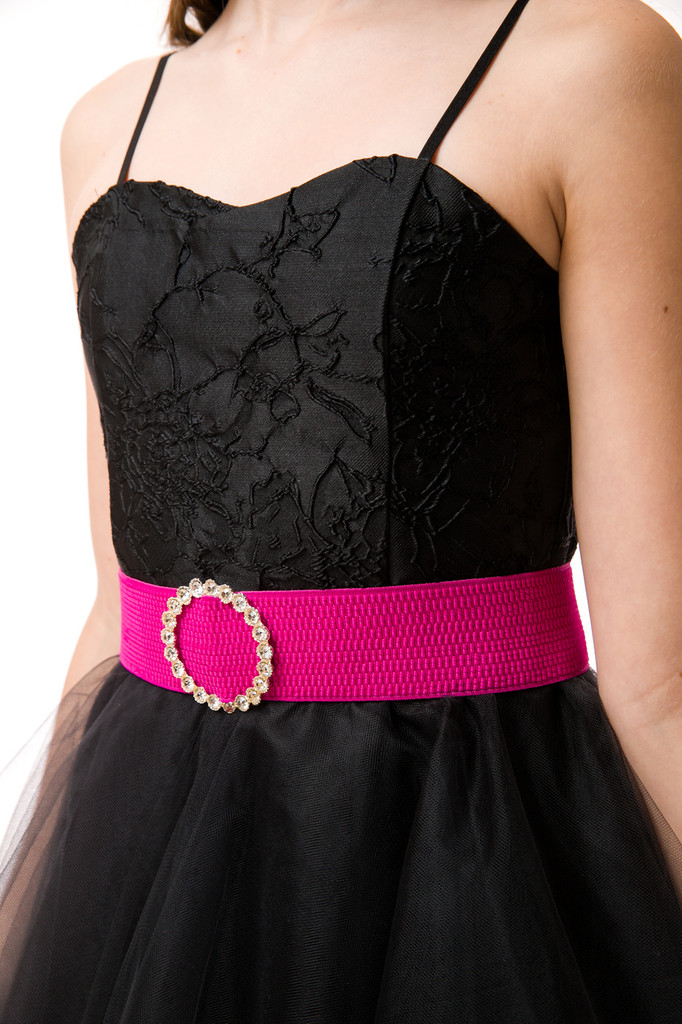 Elastic Banded Belt with Buckle in Fuchsia