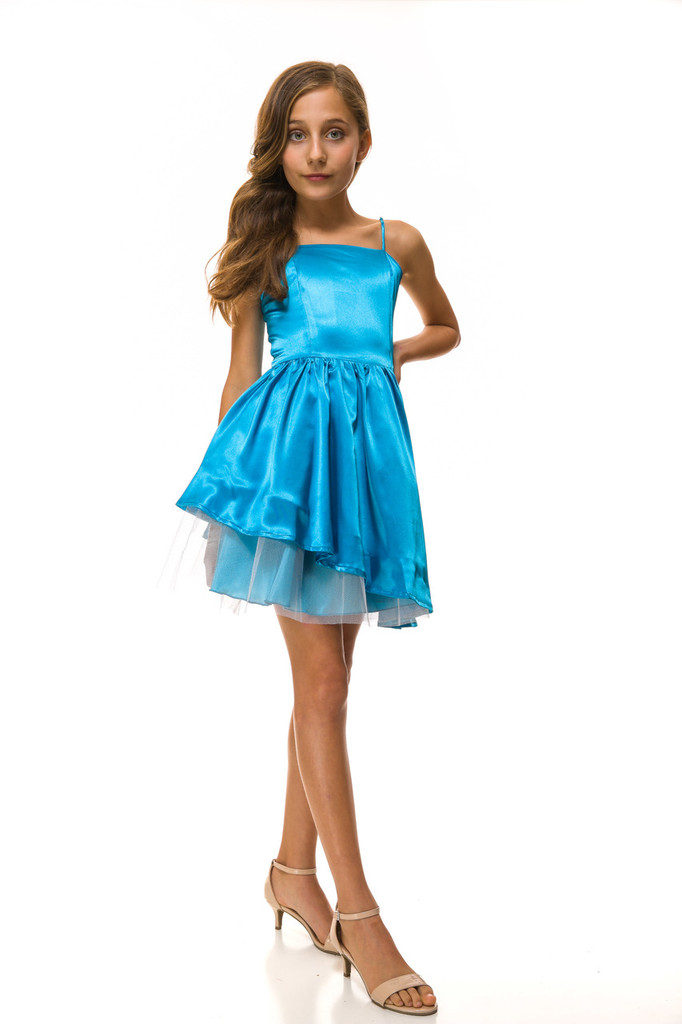 Turquoise Peek-a-Boo Party Dress