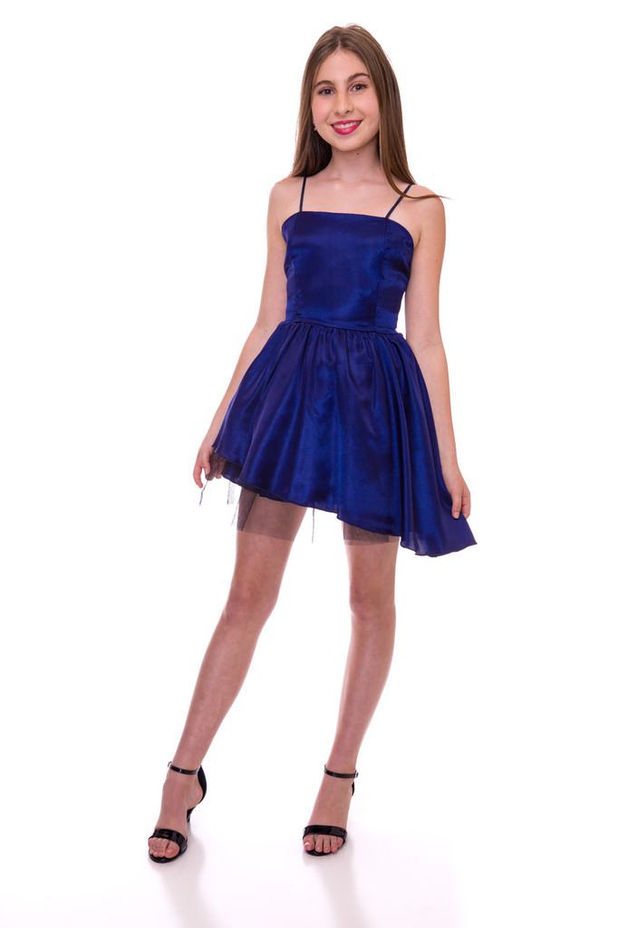 Navy Satin Peek-A-Boo Dress