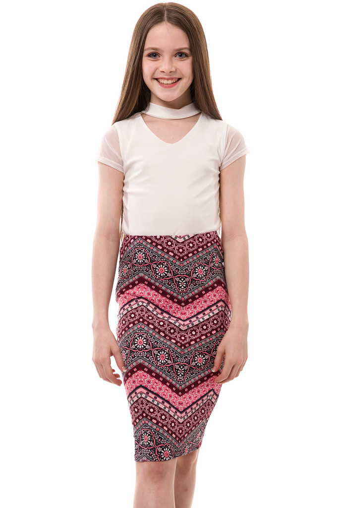 Burgundy and Pink Pencil Skirt