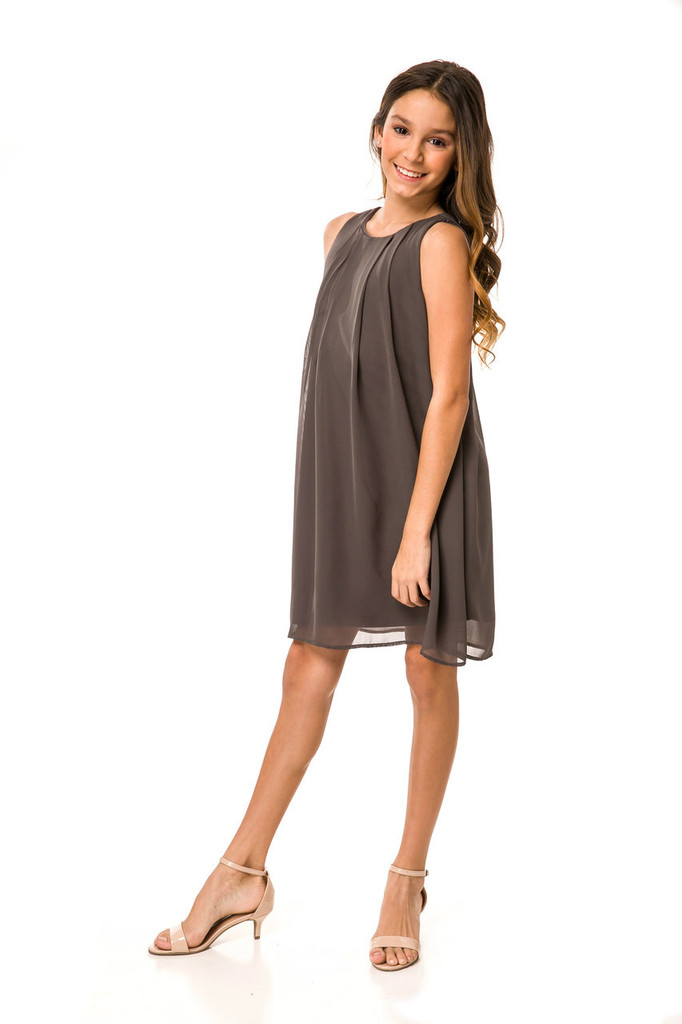 Tween Girls 7-16 Chiffon A Line Dress in Charcoal Grey