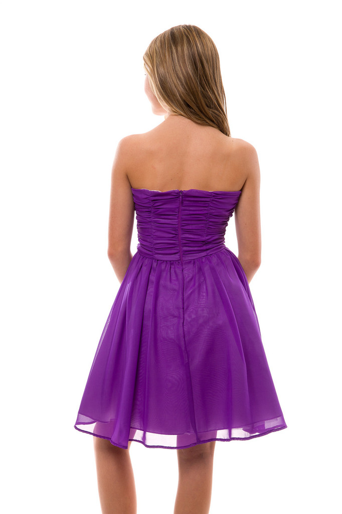 Tween Girls and Juniors Purple Chiffon Ruched Party Dress in Longer Length