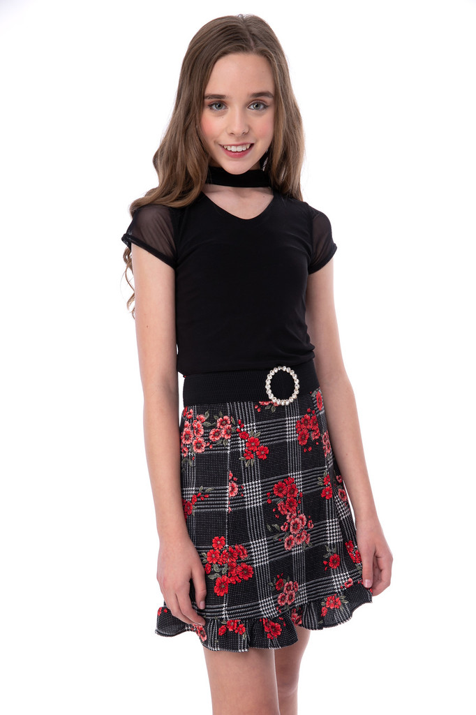 Tween Girls 7-16 Floral Plaid Ruffle Skirt in Longer Length