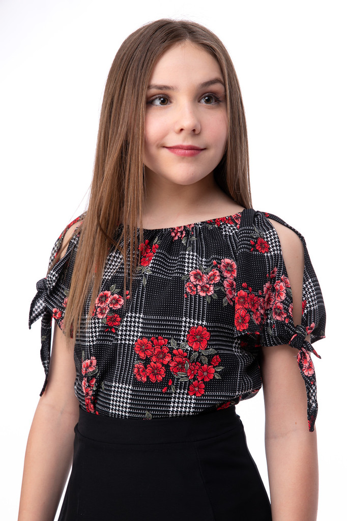 Tween Girls 7-16 Chiffon Cold Shoulder Knotted Top in Floral Plaid