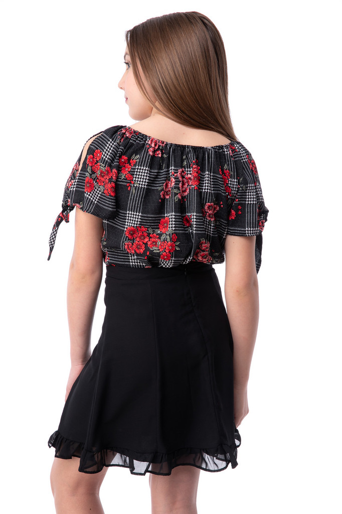 Chiffon Cold Shoulder Knotted Top in Floral Plaid