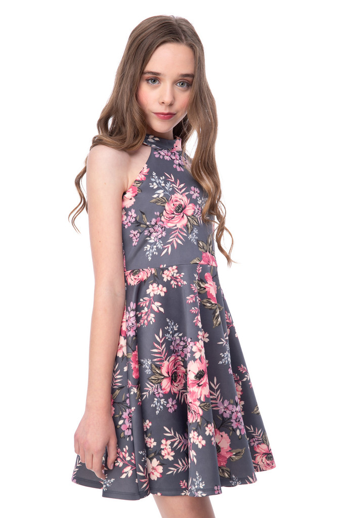 Grey and Blush Floral Halter Dress in Longer Length