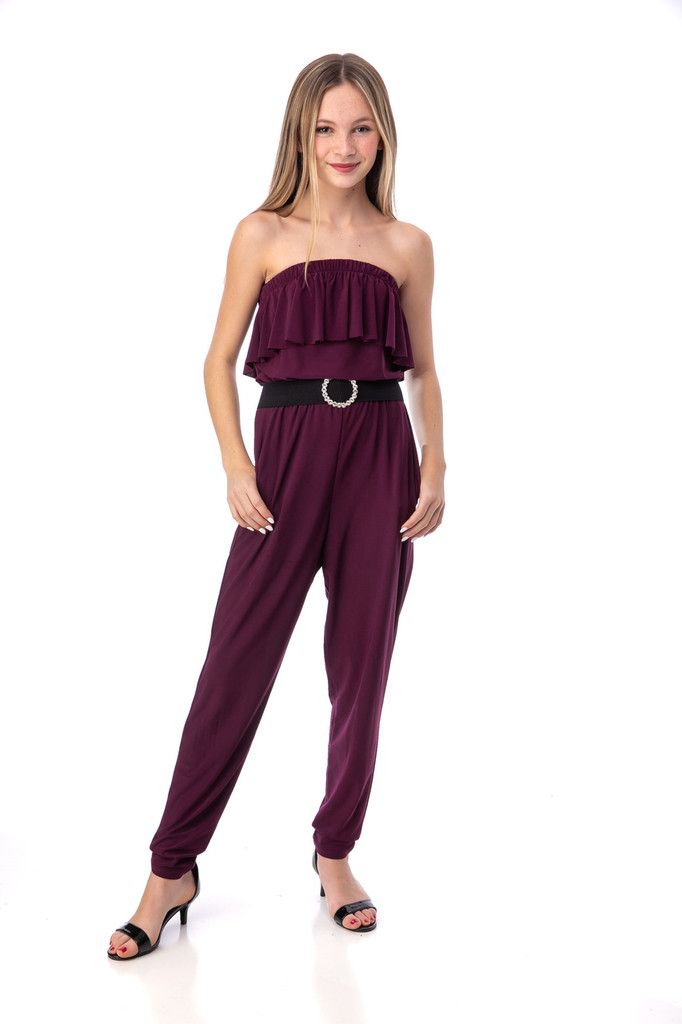Limited Edition Deep Plum Jumpsuit with Belt