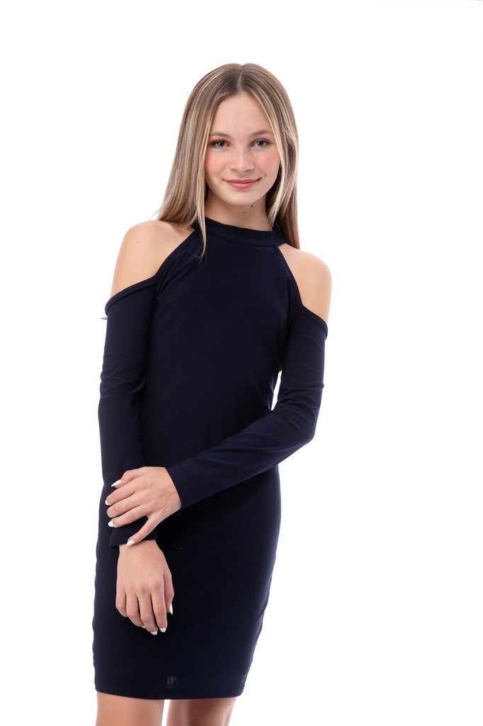 Navy Fitted Long Sleeve Halter Dress in Longer Length