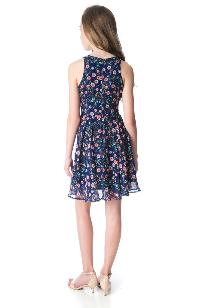 Navy Floral Tank Dress in Longer Length