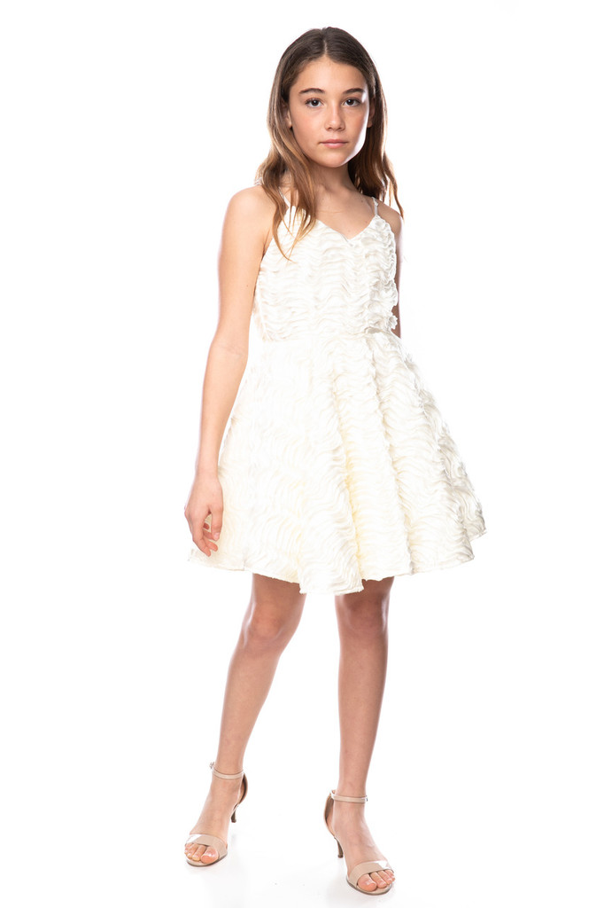 Tween Girls Ivory Ribbon Party Dress