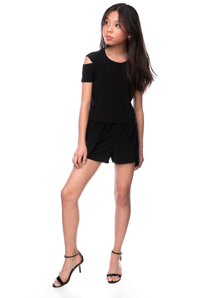 Tween Girls Black Tulip Shorts