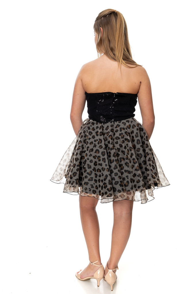 Junior Girls Sequin and Cheetah Party Dress
