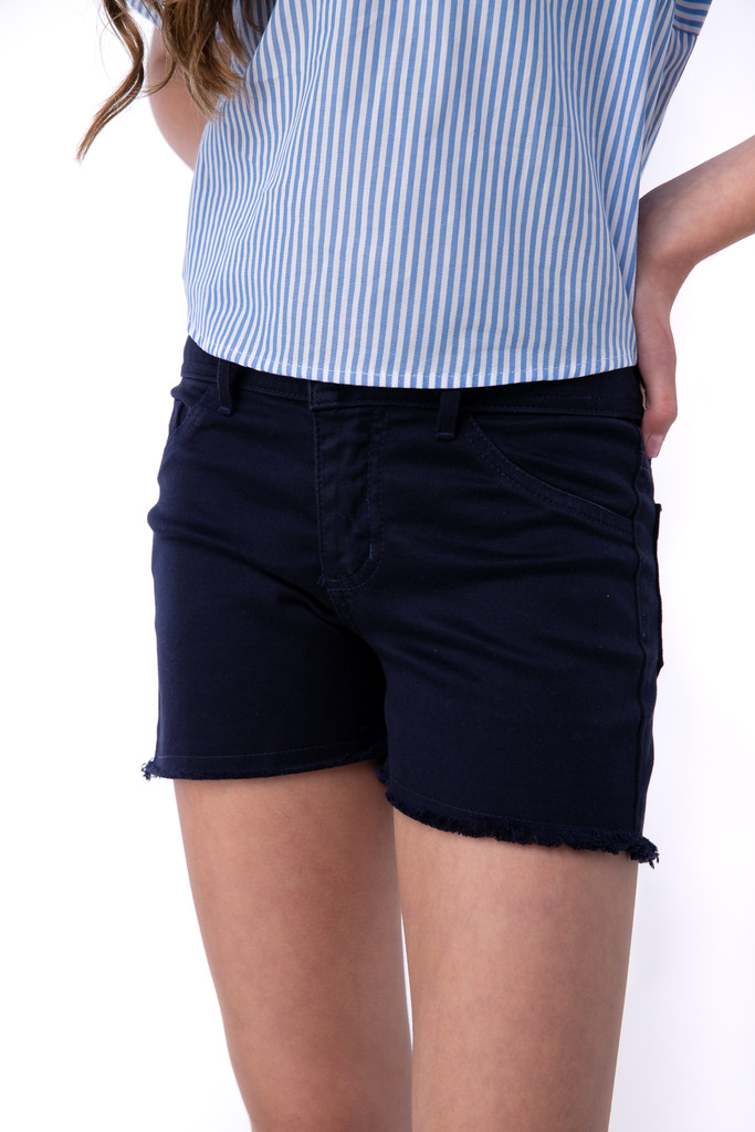 Tween Girls Navy Blue Stretch Twill Shorts