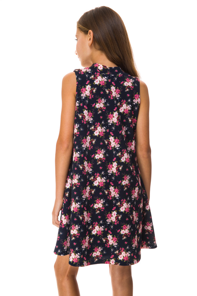 Sale Tween Girls Floral A Line Dress is a final sale dress. Back shot.