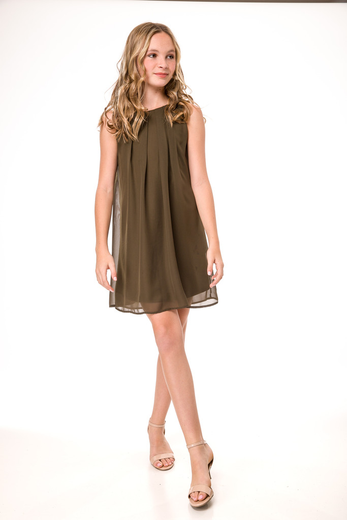 Tween Girls Chiffon A Line Dress in Olive Green full length view.