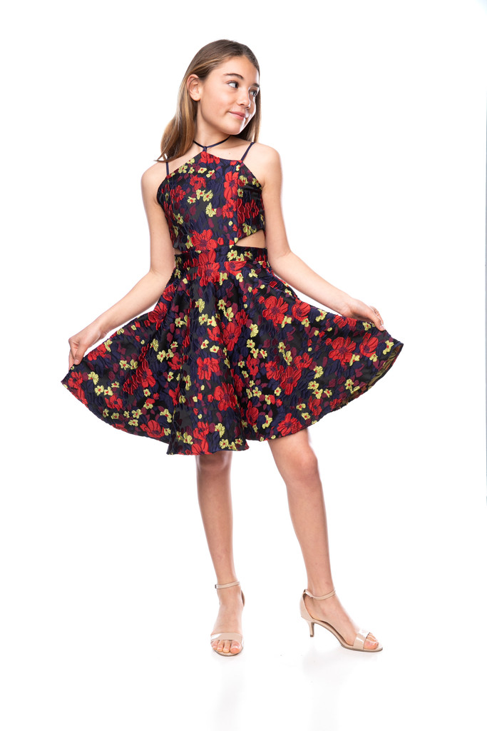 Tween Girls Floral Halter Dress with Open Sides in Longer Length full circle skirt.