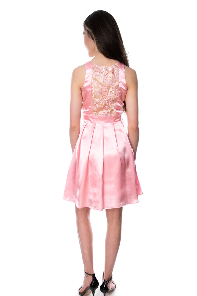 Junior Girls Pink Satin Racer Back Dress in Longer Length back view.