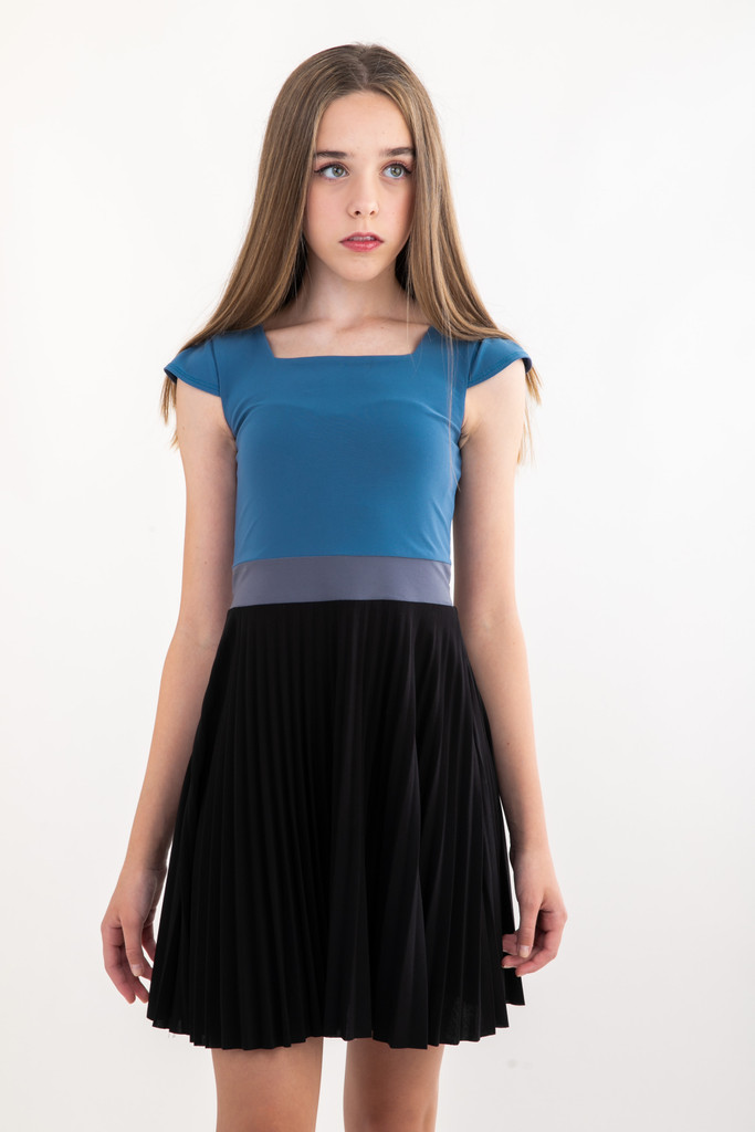 Tween Girls Pleated Blue Storm Color-Block Dress with Cap Sleeve.