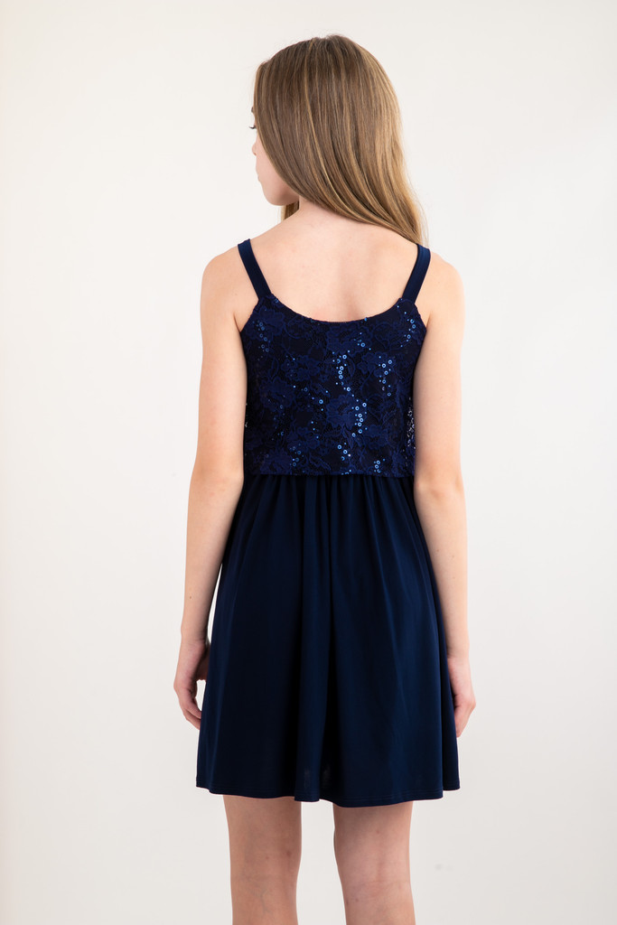 Tween Girls Navy Sequin Lace Skater Dress in Longer Length back view.