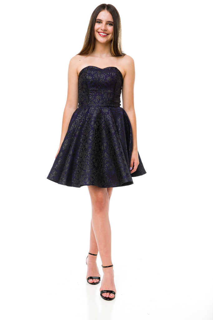 Junior Girls Black and Navy Jacquard Party Dress front.
