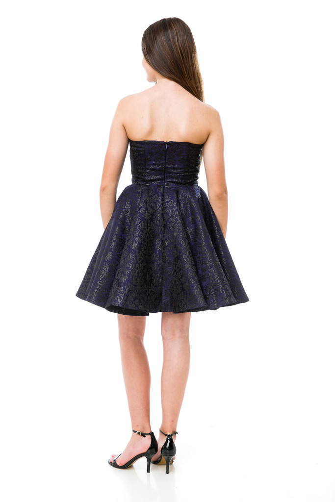 Junior Girls Black and Navy Jacquard Party Dress back view.