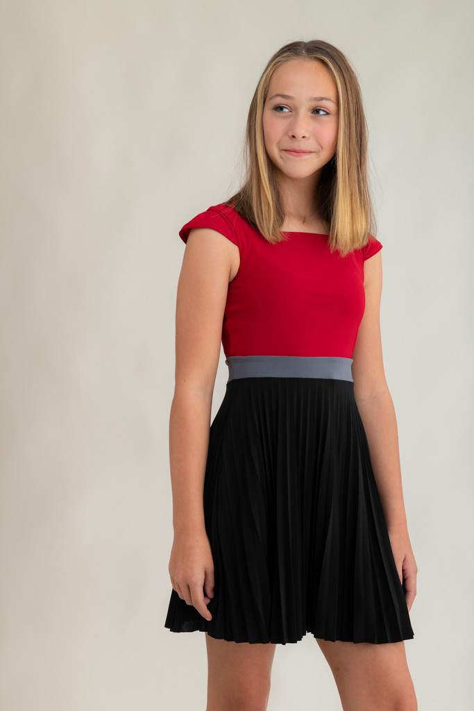 Tween Girls Pleated Red Color-Block Dress with Cap Sleeve.
