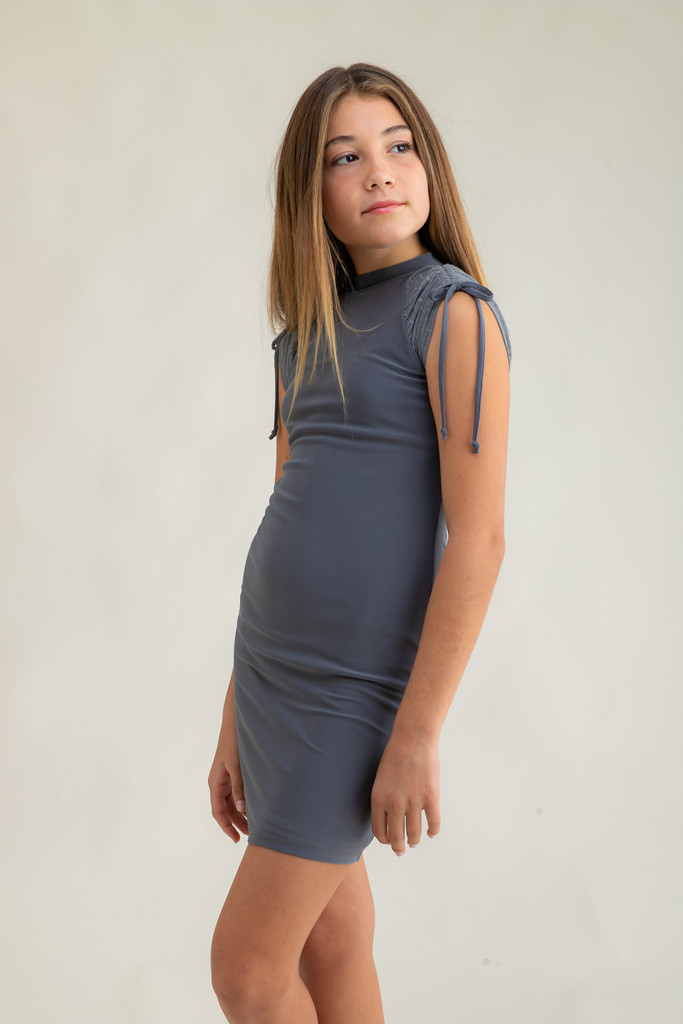 Tween Girls Charcoal Mesh Ruched Dress in Longer Length close up view.