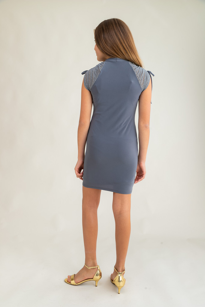 Tween Girls Charcoal Mesh Ruched Dress in Longer Length back view.