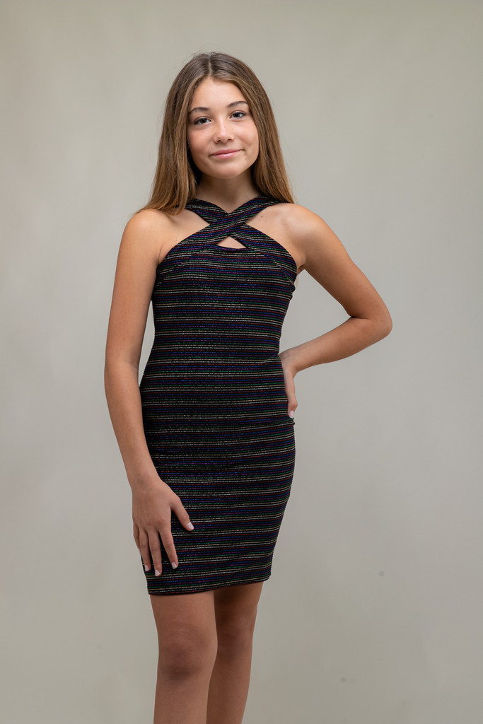 Tween Girls X-Front Fitted Stripe Glitter Dress in Longer Length close up.