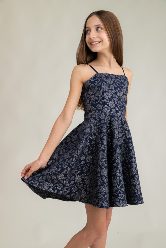 Tween Girls Navy and Silver Jacquard Party Dress in Longer Length close.