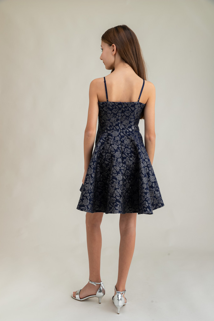 Tween Girls Navy and Silver Jacquard Party Dress in Longer Length back.