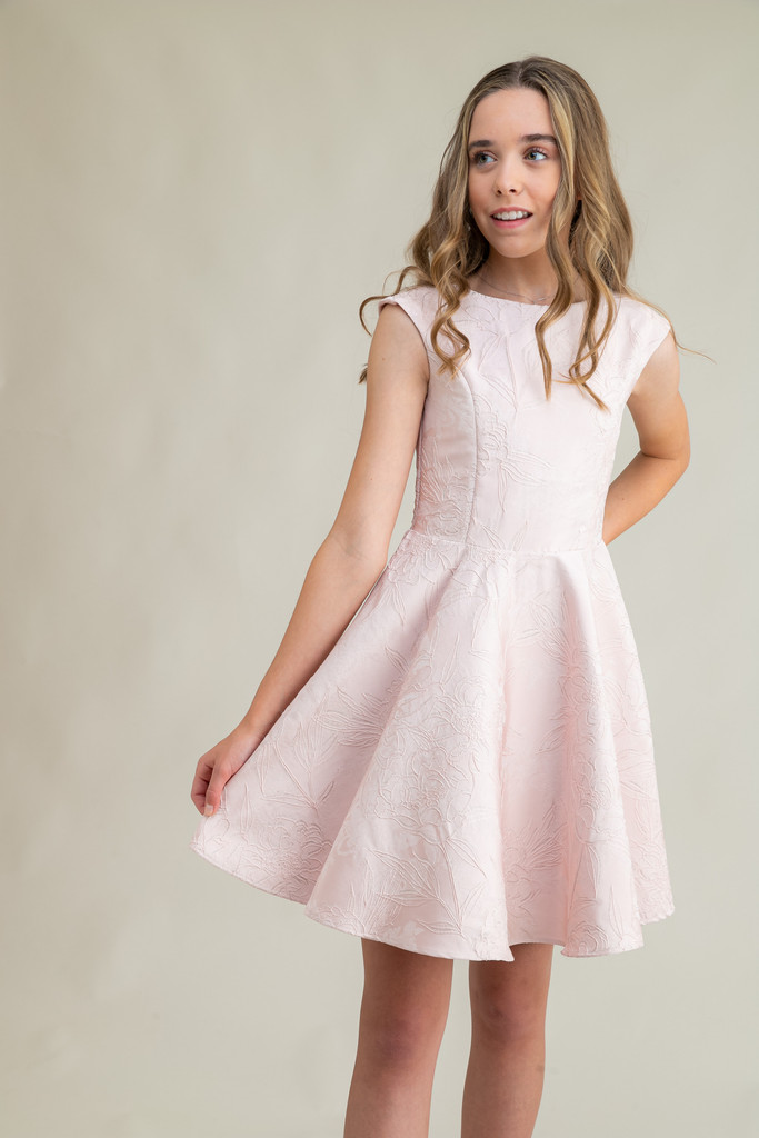 Blush Pink Floral Cap Sleeve Dress in Longer Length.