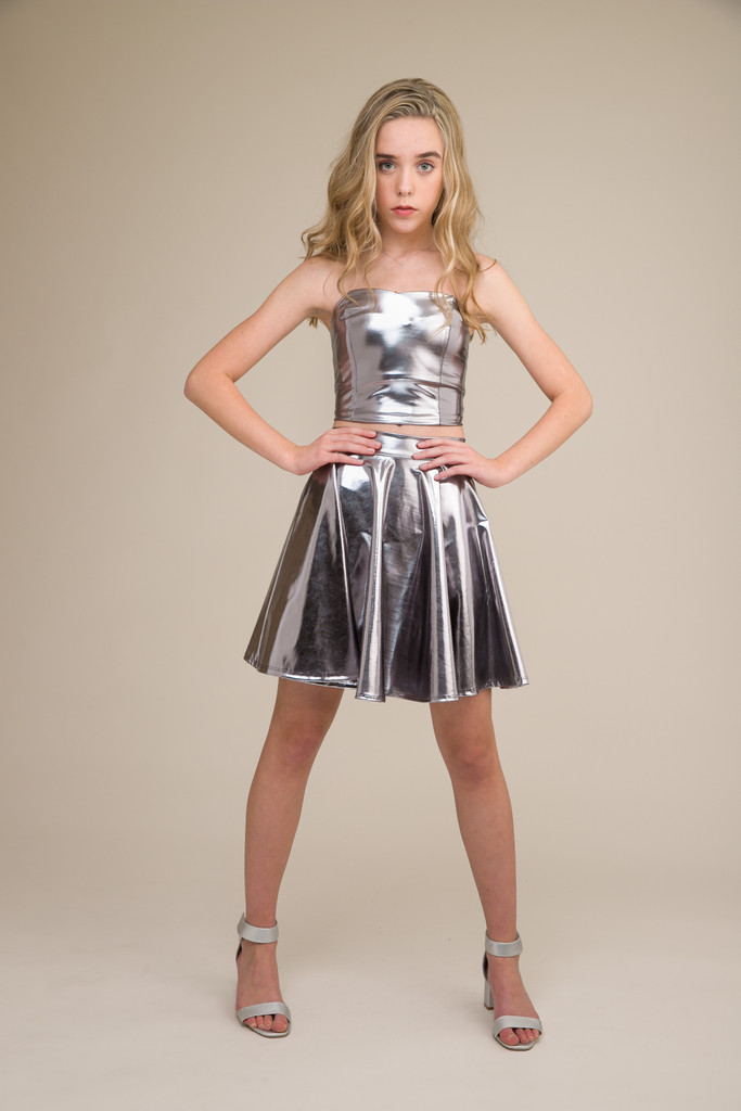 Silver Pleather Bustier with Lace Up Back full.