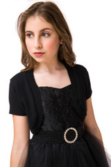 Short Sleeve Bolero Jacket in Solid Black