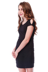 Fitted Cold Shoulder Dress in Black Rib