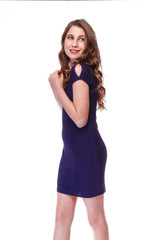 Tween Girls 10-16 Fitted Cold Shoulder Dress in Navy Rib