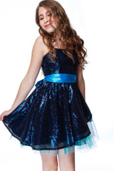 Navy and Teal Sequin Peek-a-Boo Party Dress
