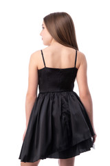 Black Satin Party Dress with Tulle back.