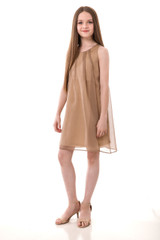 Chiffon A Line Dress in Gold
