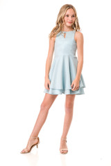 Blue Quilted Double Tier Party Dress