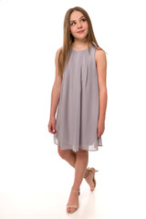 Tween Girls 7-16 Chiffon A Line Dress in Light Grey
