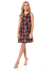 Tween Girls 7-16 Chiffon A Line Dress in Floral Plaid
