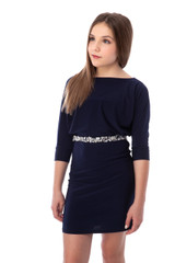 Tween Girls 7-16 Dolman Sleeve Fitted Dress in Navy